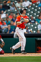 Sam Houston State Bearkats first baseman Ryan O'Hearn #27 follows through on his swing during the NCAA baseball game against the Texas Tech Red Raiders on March 1, 2014 during the Houston College Classic at Minute Maid Park in Houston, Texas. The Bearkats defeated the Red Raiders 10-6. (Andrew Woolley/Four Seam Images)