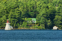 Lighthouse and cottage on Lake Rosseau, Near Rosseau, Ontario, Canada