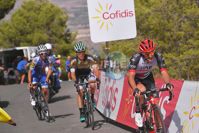 Jan Polanc (SLO) UAE Team Emirates, Rafal Majka (POL) Bora-Hansgrohe and Julian Alaphilippe (FRA) Quick-Step Floors climb the 22% Alto Xorret de Cat&iacute; during Stage 8 of the 2017 La Vuelta, running 199.5km from Hell&iacute;n to Xorret de Cat&iacute;. Costa Blanca Interior, Spain. 26th August 2017.<br /> Picture: Unipublic/&copy;photogomezsport | Cyclefile<br /> <br /> <br /> All photos usage must carry mandatory copyright credit (&copy; Cyclefile | Unipublic/&copy;photogomezsport)
