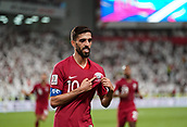 29th January 2019, Mohammed bin Zayed Stadium, Abu Dhabi, United Arab Emirates; AFC Asian Cup football semi final, Qatar versus United Arab Emirates; Hassan Al-Haydos of Qatar celebrating scoring for 3-0