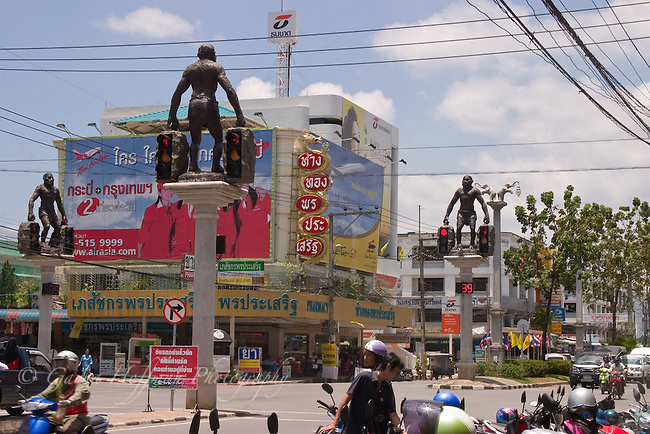 Intersection with primative man traffic lights. Krabi, Thailand