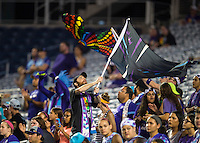 Orlando, FL - Saturday July 16, 2016: Fans during a regular season National Women's Soccer League (NWSL) match between the Orlando Pride and the Chicago Red Stars at Camping World Stadium.