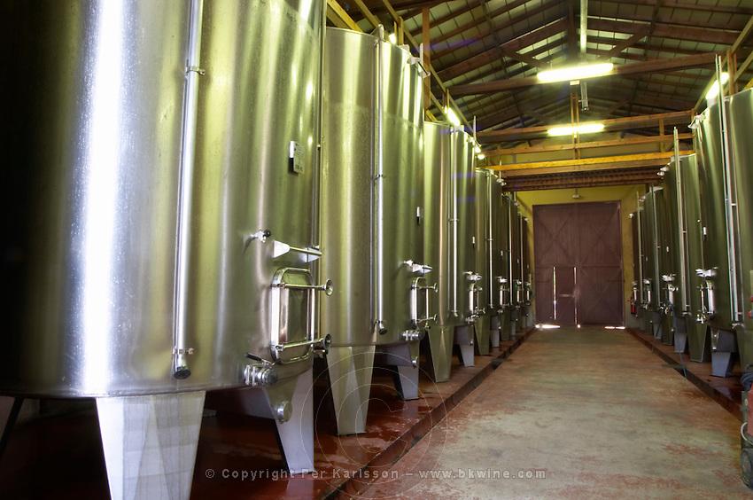 The vat cellar with stainless steel fermentation tanks  Chateau de Haux Premieres Cotes de Bordeaux  Entre-deux-Mers  Bordeaux Gironde Aquitaine France
