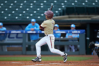 Jake Alu (1) of the Boston College Eagles follows through on his swing against the North Carolina Tar Heels in Game Five of the 2017 ACC Baseball Championship at Louisville Slugger Field on May 25, 2017 in Louisville, Kentucky. The Tar Heels defeated the Eagles 10-0 in a game called after 7 innings by the Mercy Rule. (Brian Westerholt/Four Seam Images)