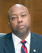 United States Senator Tim Scott (Republican of South Carolina) during the US Senate Committee on Banking, Housing, and Urban Affairs confirmation hearing on the nomination of Dr. Benjamin Carson to be Secretary of Housing and Urban Development (HUD) on Capitol Hill in Washington, DC on Thursday, January 12, 2017.<br /> Credit: Ron Sachs / CNP