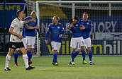 29th January 2019, Palmerston Park, Dumfries, Scotland; Scottish Cup football, 4th round replay, Queen of the South versus Dundee; Stephen Dobbie of Queen of the South is congratulated after scoring for 1-0 by Kyle Jacobs in 12th minute
