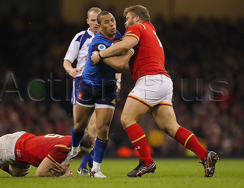 26.02.2016. Principality Stadium, Cardiff, Wales. RBS Six Nations Championships. Wales versus France. France's Gael Fickou gets tackled by Wales Tomas Francis