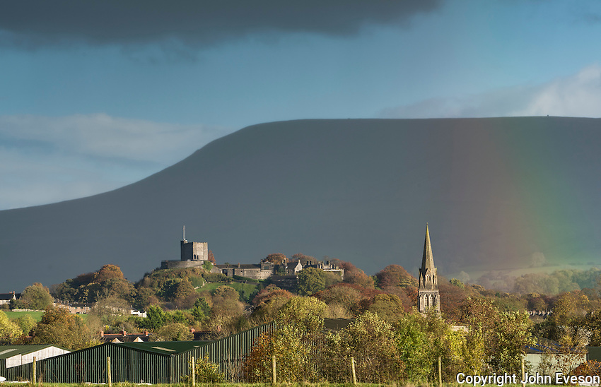 View of Clitheroe Castle in front of Pendle Hill with rainbow, Clitheroe, Lancashire.