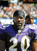 Sep. 20, 2009; San Diego, CA, USA; Baltimore Ravens safety (20) Ed Reed against the San Diego Chargers at Qualcomm Stadium in San Diego. Baltimore defeated San Diego 31-26. Mandatory Credit: Mark J. Rebilas-
