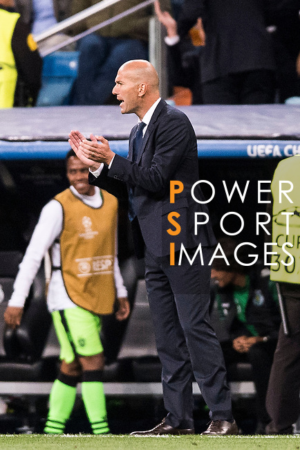 Coach Zinedine Zidane of Real Madrid reacts during their 2016-17 UEFA Champions League match between Real Madrid vs Sporting Portugal at the Santiago Bernabeu Stadium on 14 September 2016 in Madrid, Spain. Photo by Diego Gonzalez Souto / Power Sport Images