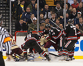 Danny Linell (BC - 10), Adam Reid (NU - 8), Chris Rawlings (NU - 37), Johnny Gaudreau (BC - 13), Dax Lauwers (NU - 44), Mike McMurtry (NU - 7) - The Boston College Eagles defeated the Northeastern University Huskies 6-3 for their fourth consecutive Beanpot championship on Monday, February 11, 2013, at TD Garden in Boston, Massachusetts.