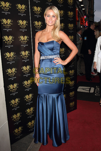 Alex Gerrard<br /> Lipsy VIP Fashion Awards at DSTRKT, London, England.<br /> May 29th 2013<br /> full length blue strapless dress hand on hip peplum belt silver drop waist<br /> CAP/ROS<br /> &copy;Steve Ross/Capital Pictures