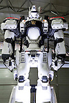 "A life-size model of INGRAM AV-98 of the action movie ""THE NEXT GENERATION - PATLABOR"" on display during the Niconico Douga fan event at Makuhari Messe International Exhibition Hall on April 25, 2015, Chiba, Japan. The event includes special attractions such as J-pop concerts, Sumo and Pro Wrestling matches, cosplay and manga and various robot performances and is broadcast live on via the video-sharing site. Niconico Douga (in English ""Smiley, Smiley Video"") is one of Japan's biggest video community sites where users can upload, view, share videos and write comments directly in real time, creating a sense of a shared watching. According to the organizers more than 200,000 viewers for two days will see the event by internet. The popular event is held in all 11 halls of the huge Makuhari Messe exhibition center from April 25 to 26. (Photo by Rodrigo Reyes Marin/AFLO)"
