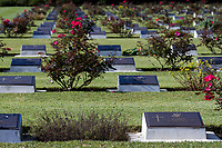 Graves of fallen servicemen and servicewomen at  the Remembrance Sunday ceremony at the Hodogaya, Commonwealth War Graves Cemetery in Hodogaya, Yokohama, Kanagawa, Japan. Sunday November 11th 2018. The Hodagaya Cemetery holds the remains of more than 1500 servicemen and women, from the Commonwealth but also from Holland and the United States, who died as prisoners of war or during the Allied occupation of Japan. Each year officials from the British and Commonwealth embassies, the British Legion and the British Chamber of Commerce honour the dead at a ceremony in this beautiful cemetery. The year 2018 marks the centenary of the end of the First World War in 1918.