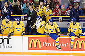 ?, Carl Klingberg (Sweden - 17), ?, Par Marts (Sweden - Head Coach), Tim Erixon (Sweden - 4), Oliver Ekman Larsson (Sweden - 3), Marcus Johansson (Sweden - 11), Jacob Josefson (Sweden - 10), Magnus Paajarvi Svensson (Sweden - 21), Andre Petersson (Sweden - 20) - Team Sweden celebrates after defeating Team Switzerland 11-4 to win the bronze medal in the 2010 World Juniors tournament on Tuesday, January 5, 2010, at the Credit Union Centre in Saskatoon, Saskatchewan.