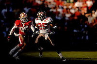 Oct 30, 2005; San Francisco, CA, USA;  San Francisco 49ers wide receiver #85 Brandon Lloyd is covered by Tampa Bay Buccaneers cornerback #25 Brian Kelley in the fourth quarter at Monster Park. Mandatory Credit: Photo By Mark J. Rebilas-US PRESSWIRE © Copyright Mark J. Rebilas.