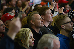 Supporters of Republican Presidential front runner Donald Trump during his speech at the Synergy Flight Center in Bloomington, Illinois on March 13, 2016.