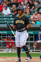 Indianapolis Indians outfielder Christopher Bostick (7) at the plate during an International League game against the Buffalo Bisons on July 28, 2018 at Victory Field in Indianapolis, Indiana. Indianapolis defeated Buffalo 6-4. (Brad Krause/Four Seam Images)