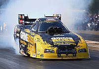 Aug. 16, 2013; Brainerd, MN, USA: NHRA funny car driver Jeff Arend during qualifying for the Lucas Oil Nationals at Brainerd International Raceway. Mandatory Credit: Mark J. Rebilas-