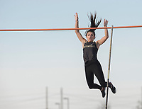 NWA Democrat-Gazette/J.T. WAMPLER Chloe Christian of Bentonville clears the bar while competing in the pole vault Thursday March 8, 2018 at the Joe Roberts Relays track meet at Har-Ber High School in Springdale.