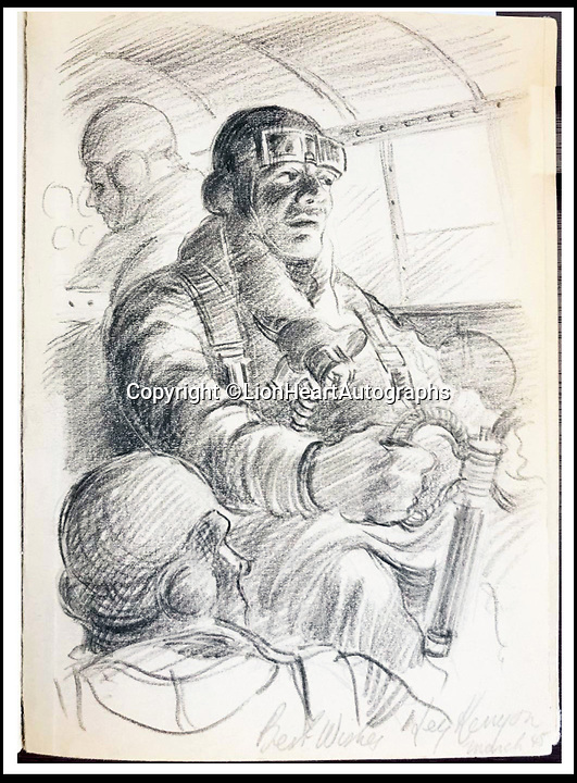 BNPS.co.uk (01202 558833)<br /> Pic:   LionHeartAutographs/BNPS<br /> <br /> A sketch of a bomber pilot and other crew.<br /> <br /> A remarkable diary kept by a POW in the Great Escape camp which includes a tribute to the 50 men executed in its reprisals has come to light.<br /> <br /> British RAF officer Joseph Gueuffen, of 609 Squadron, was shot down during a bombing raid over Germany and held captive at Stalag Luft III from late 1943 until the end of the war.<br /> <br /> The Belgian born pilot was kept in Block 109, a barrack which played an integral part in the mass escape of prisoners on March 24, 1944.<br /> <br /> The diary boasts a list of the officers executed by the Nazis following their recapture and a drawing of the permanent memorial for them by Belgian RAF pilot Bobby Laumans.