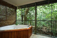 Spa looking out to the rainforest at Daintree Eco Lodge and Spa.  Daintree, Queensland, Australia