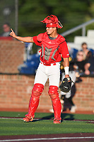Johnson City Cardinals catcher Aaron Antonini (53) during game two of the Appalachian League, West Division Playoffs against the Bristol Pirates at TVA Credit Union Ballpark on August 31, 2019 in Johnson City, Tennessee. The Cardinals defeated the Pirates 7-4 to even the series at 1-1. (Tony Farlow/Four Seam Images)