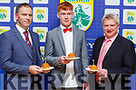 Eamon Whelan, Brandon Barrett and Dermot Lynch all celebrate their birthdays at the Kerry GAA awards night in the Ballygarry House Hotel on Saturday night.