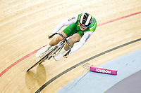 19 FEB 2012 - LONDON, GBR - Ireland's Eoin Mullen (IRL) attempts to qualify for the Men's Sprint during the UCI Track Cycling World Cup, and London Prepares test event for the 2012 Olympic Games, in the Olympic Park Velodrome in Stratford, London, Great Britain .(PHOTO (C) 2012 NIGEL FARROW)