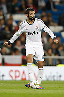 26.09.2012 SPAIN - Real Madrid and Millonarios played  for the 34th Santiago Bernabéu Trophy. The score at was 8-0 with three goals from Kaká, Morata (2), Callejon (2) and Benzema (1). The picture show Raul Albiol Tortajada (Spanish defender of Real Madrid)