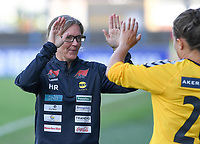 20190813 - DENDERLEEUW, BELGIUM : LSK's head coach Hege Riise pictured motivating Cathrine Dekkerhus (right) before entering the pitch during the female soccer game between the Greek PAOK Thessaloniki Ladies FC and the Norwegian LSK Kvinner Fotballklubb Ladies , the third and final game for both teams in the Uefa Womens Champions League Qualifying round in group 8 , Tuesday 13 th August 2019 at the Van Roy Stadium in Denderleeuw  , Belgium  .  PHOTO SPORTPIX.BE for NTB | DAVID CATRY