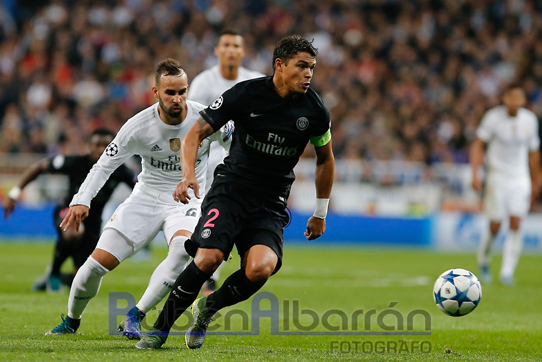 Paris Saint Germain´s defense Thiago Silva and Real Madrid´s Jese