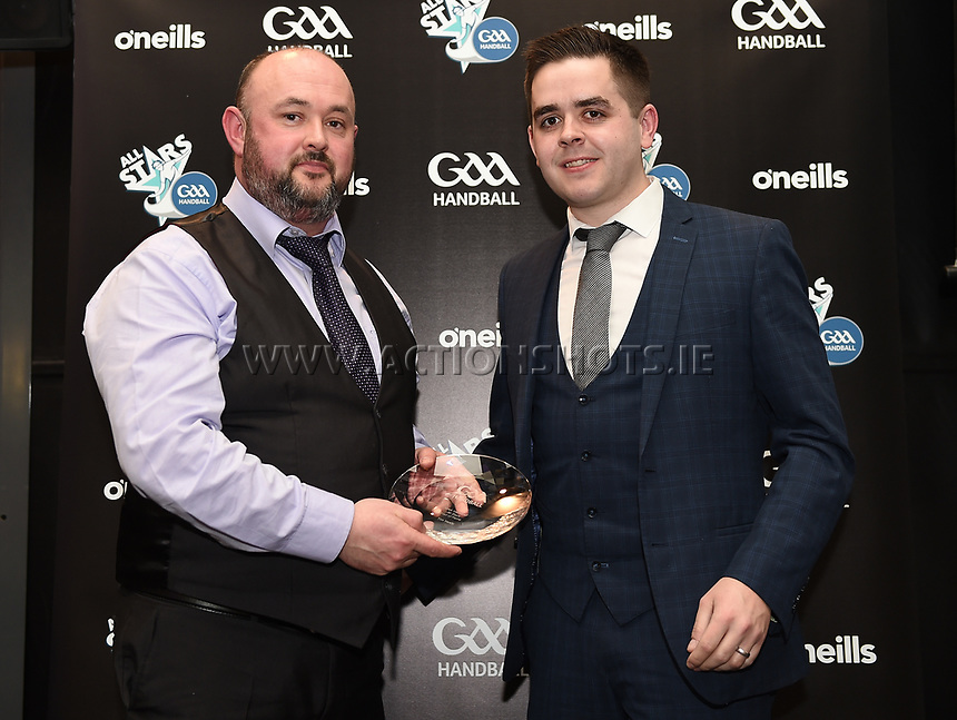 03/02/2018; GAA Handball All-Stars Awards 2018; Croke Park, Dublin;<br /> Ger Healy accepts the Hall of Fame award on behalf of his late father Tim<br /> Photo Credit: actionshots.ie/Tommy Grealy