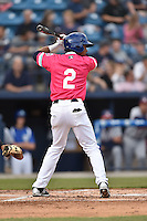Asheville Tourists right fielder Marcos Derkes (2) awaits a pitch during a game against the Rome Braves on May 15, 2015 in Asheville, North Carolina. The Braves defeated the Tourists 6-0. (Tony Farlow/Four Seam Images)