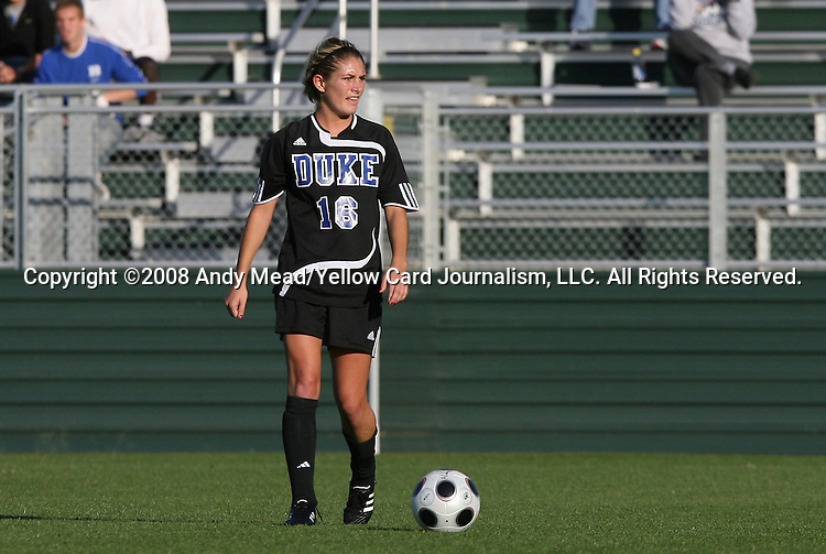 05 November 2008: Duke's Elizabeth Redmond. Boston College defeated Duke University 1-0 at Koka Booth Stadium at WakeMed Soccer Park in Cary, NC in a women's ACC tournament quarterfinal game.