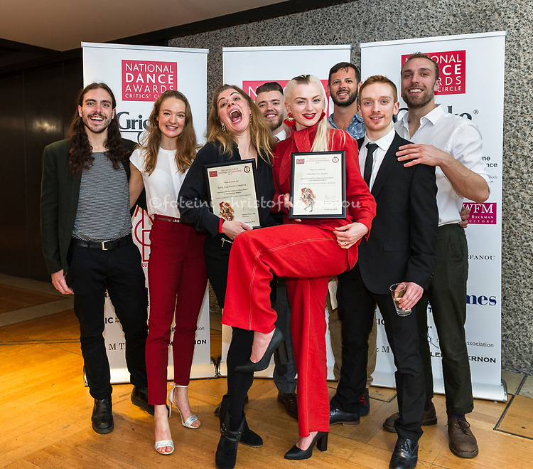 London, UK. 19.02.2018. The Critics&rsquo; Circle National Dance Awards 2017 took place at the Barbican &amp; presented by Dane Hurst and Annabelle Lopez Ochoa, 19 Feb 2018. Photo - &copy; Foteini Christofilopoulou. <br /> <br /> <br /> Emerging Artist Award (Sponsored by L &amp; M Trust)<br /> <br /> Harry Alexander &ndash; dancer, Michael Clark Company/Julie Cunningham &amp; Company<br /> Vincenzo Lamagna &ndash; composer, Akram Khan&rsquo;s Giselle, English National Ballet <br /> Dickson Mbi &ndash; dancer, Boy Blue Entertainment/Russell Maliphant Company<br /> Botis Seva &ndash; choreography for Far From the Norm and Scottish Dance Theatre<br /> Francesca Velicu &ndash; first artist, English National Ballet <br /> <br /> <br /> Dansez Award for Best Independent Company<br /> <br /> Avant Garde Dance<br /> Ballet Cymru<br /> HeadSpaceDance<br /> Rosie Kay Dance Company <br /> Vincent Dance Theatre<br /> <br /> <br /> The One Dance UK Industry Award, given in memory of Jane Attenborough<br /> <br /> Mary Brennan<br /> <br /> <br /> Outstanding Male Performance (Modern) (Sponsored by The Critics&rsquo; Circle)<br /> <br /> Christopher Akrill in Stepmother/Stepfather for Arthur Pita &amp; HeadSpaceDance<br /> Mithkal Alzghair in Displacement <br /> Karl Fagerlund Brekke in Stepmother/Stepfather for Arthur Pita &amp; HeadSpaceDance<br /> Robert Fairchild as Jerry Mulligan in An American in Paris<br /> Dickson Mbi in Blak Whyte Gray for Boy Blue Entertainment<br /> <br /> <br /> Best Classical Choreography (Sponsored by The Ballet Association)<br /> <br /> Akram Khan &ndash; Akram Khan&rsquo;s Giselle for English National Ballet<br /> Crystal Pite &ndash; Emergence for Scottish Ballet <br /> Crystal Pite &ndash; Flight Pattern for The Royal Ballet<br /> Liam Scarlett &ndash; Symphonic Dances for The Royal Ballet <br /> Kenneth Tindall &ndash; Casanova for Northern Ballet<br /> <br /> <br /> Dance Europe Award for Outstanding Male Performance (Classical)<br /> <br /> I