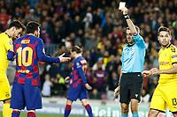 27th November 2019; Camp Nou, Barcelona, Catalonia, Spain; UEFA Champions League Football, Barcelona versus Borussia Dortmund;  Leo Messi receives a yellow card caution - Editorial Use