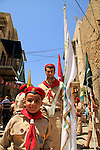 Israel, St. George's Day procession around the Greek Orthodox Church of St. George in Acco