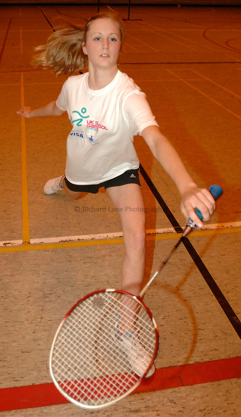 Photo: Richard Lane/Richard Lane Photography..UK Schools Games Press Conference, Coventry. 25/07/2007. .England schools badminton player, Emily Hollis.