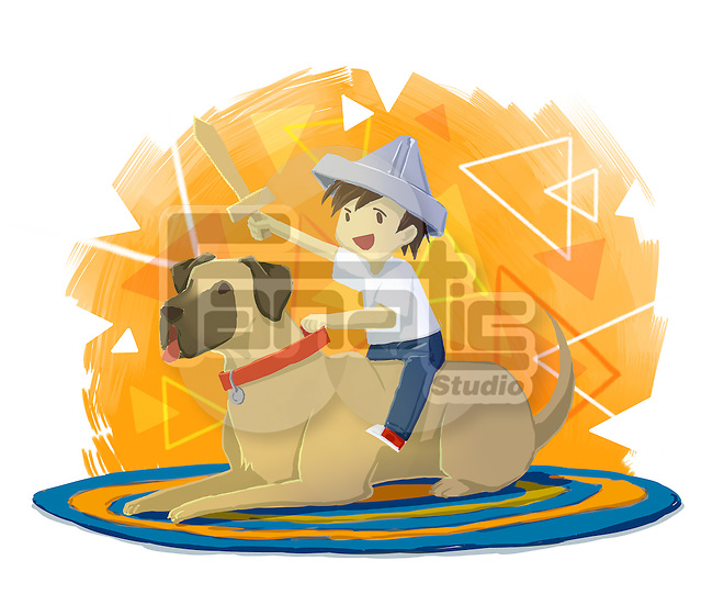 Illustration of boy with sword sitting on dog over white background