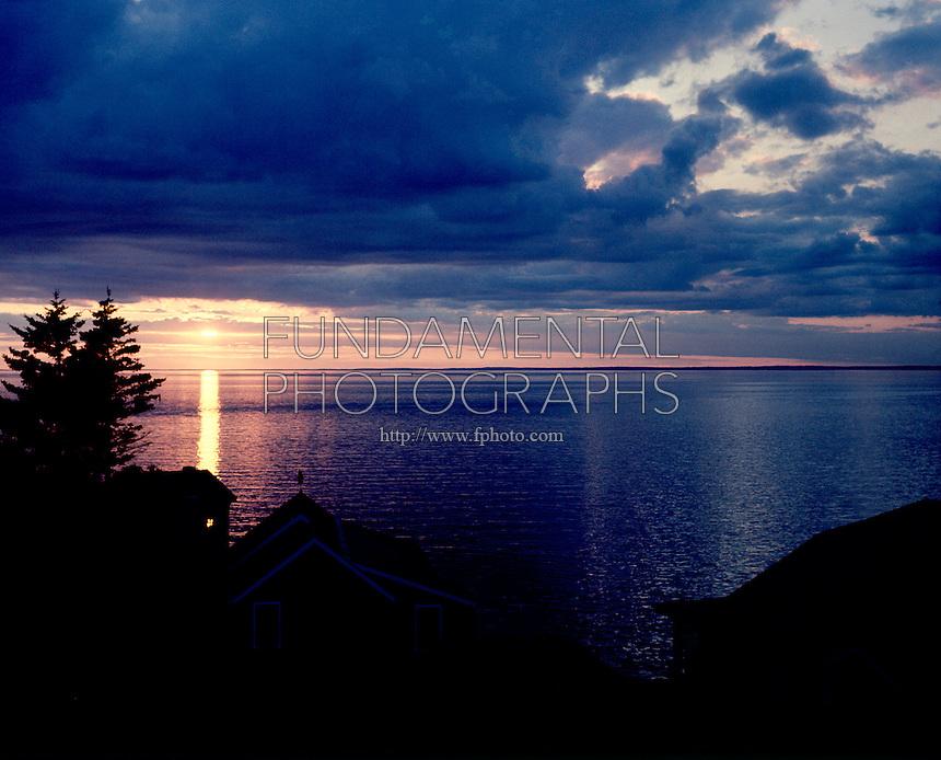 SUNSET/SUNRISE OVER OCEAN<br /> Stratocumulus clouds<br /> Monhegan Island