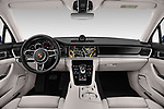 Stock photo of straight dashboard view of a 2018 Porsche Panamera 4S 5 Door Hatchback