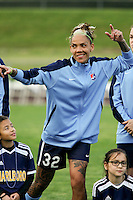 Piscataway, NJ, May 7, 2016.  Tasha Kai (32) of Sky Blue FC during player introductions prior to their game with the Western New York Flash.  The Western New York Flash defeated Sky Blue FC, 2-1, in a National Women's Soccer League (NWSL) match at Yurcak Field.