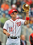 12 April 2012: Washington Nationals third baseman Ryan Zimmerman warms up prior to a game against the Cincinnati Reds at Nationals Park in Washington, DC. The Nationals defeated the Reds 3-2 in 10 innings to take the first game of their 4-game series. Mandatory Credit: Ed Wolfstein Photo
