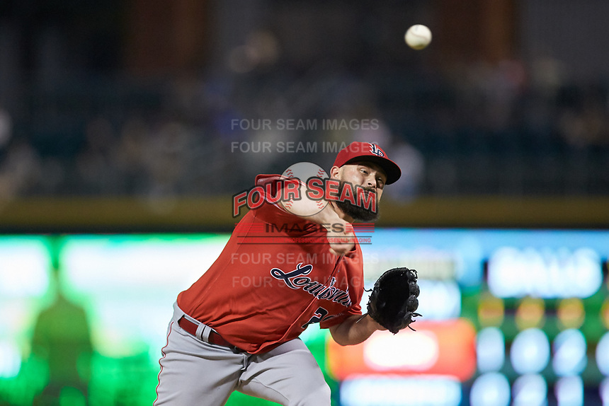 Louisville Bats relief pitcher Jackson Stephens (20) in action against the Charlotte Hornets at BB&T BallPark on June 22, 2019 in Charlotte, North Carolina. The Hornets defeated the Bats 7-6. (Brian Westerholt/Four Seam Images)