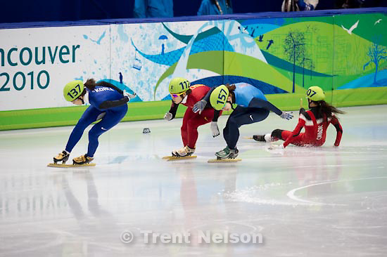Trent Nelson  |  The Salt Lake Tribune.Ladies' 1500m, semifinal 2, Short Track Speed Skating, at the XXI Olympic Winter Games in Vancouver, Saturday, February 20, 2010. Erika Huszar 124, Evgenia Radanova 104, Cho Ha-Ri 137, Katherine Reutter 157, Kalyna Roberge 107, Wang Meng 112
