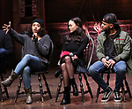 "Sasha Hollinger, Sabrina Imamura, Terrance Spencer  during The Rockefeller Foundation and The Gilder Lehrman Institute of American History sponsored High School student #eduHam matinee performance of ""Hamilton"" Q & A at the Richard Rodgers Theatre on December 5,, 2018 in New York City."
