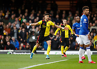 1st February 2020; Vicarage Road, Watford, Hertfordshire, England; English Premier League Football, Watford versus Everton; Adam Masina of Watford celebrates after scoring his sides 1st goal in the 10th minute to make it 1-0