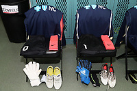 Cary, North Carolina  - Saturday June 03, 2017: Kits of goalkeepers Katelyn Rowland and Sabrina D'Angelo in the Courage locker room prior to a regular season National Women's Soccer League (NWSL) match between the North Carolina Courage and the FC Kansas City at Sahlen's Stadium at WakeMed Soccer Park. The Courage won the game 2-0.