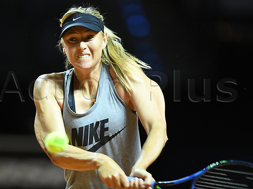 April 26th 2017. Stuttgart, Germany; Porsche Grand Prix womens tennis tournament;  Russian Tennis player Maria Sharapova practices during the first day after her doping ban at the Women's Stuttgart Open ('Porsche Tennis Grand Prix') at the Porsche Arena in Stuttgart, Germany